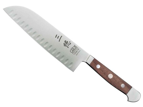Güde Alpha Walnuss Santoku Messer mit Kullenschliff W546/18 - 18