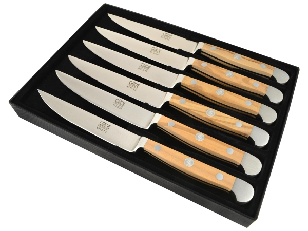 Güde Alpha Olive Geschenkkarton mit sechs Steakmessern Mikroverzahnung/glatte Klinge